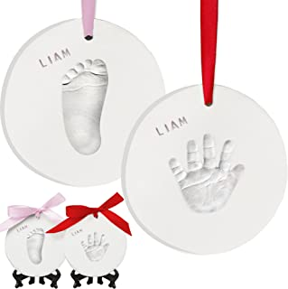 Baby Handprint Footprint Ornament Keepsake Kit - Personalized Baby Prints Ornaments for Newborn - Baby Nursery Memory Art ...