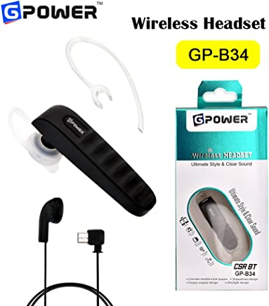 G-Power ®GP B34 Bluetooth Headset Earphone with Mic - Handsfree for Mobile (Black)