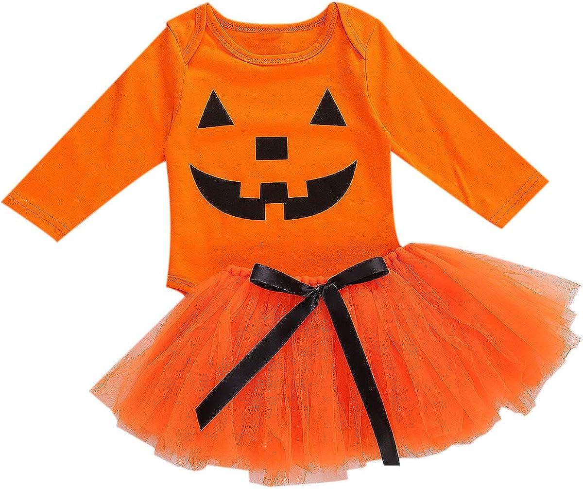 Newborn Baby Girls Halloween Outfits My 1st Halloween Romper Top Tulle Tutu Skirts Headband Clothes Set 0-24M