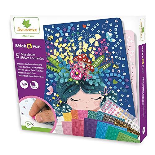 Sycomore CRE7009 Selbstklebende Mosaike für Kinder-5 Verzauberte Träumebilder-Kreative Freizeitgestaltung-Stick & Fun-Ab 5 Jahren-Sycomore-CRE7009, Mehrfarben