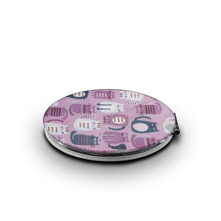 廊下キャプテンブライ笑い携帯ミラー かわいい猫ミニ化粧鏡 化粧鏡 3倍拡大鏡+等倍鏡 両面化粧鏡 楕円形 携帯型 折り畳み式 コンパクト鏡 外出に 持ち運び便利 超軽量 おしゃれ 9.0X6.6CM