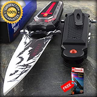 7.75'' DRACULA VAMPIRE COFFIN with LED LIGHT SPRING ASSISTED FOLDING POCKET KNIFE Combat Tactical Knife + eBOOK by Moon Knives