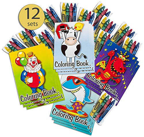 Mini Coloring Books and Crayons Party Favors Goodie Bag Fillers 12 Books & 12 Crayon Packs