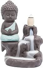 Incense Burner Backflow Tower Cones Sticks Holder Ceramic Porcelain Buddha Monk Ash Catcher- Green