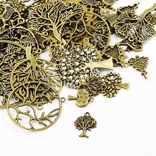 Tibetan Tree Charm Pendants Antique Bronze 5-40mm Pack of 30g