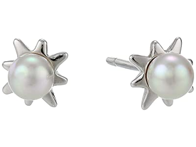 Majorica 4 mm Round Pearl Mini Short Earrings with Post On Sterling Silver Rhodium-Plated (White) Earring