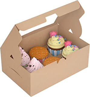 X-Chef Cupcake Boxes 15 Packs, Food Grade Kraft Bakery Pastry Boxes with Display Windows and Inserts to Fit 6 Cupcakes Muffins or Pastries, 10. 3