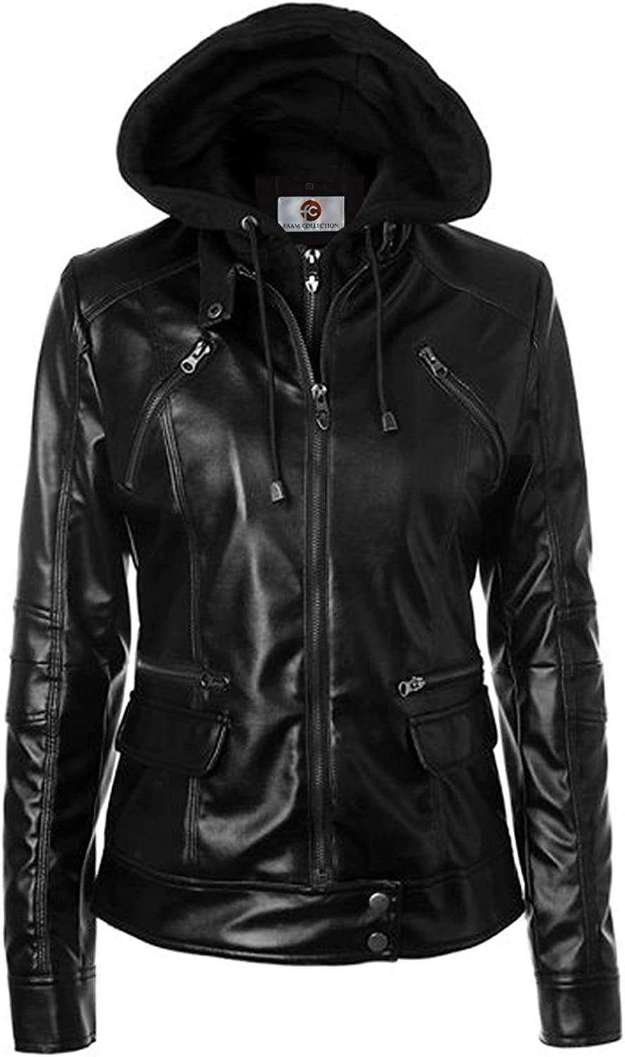 Faam Collection Special Crafted Lambskin Leather Jacket with Hood for Women Black