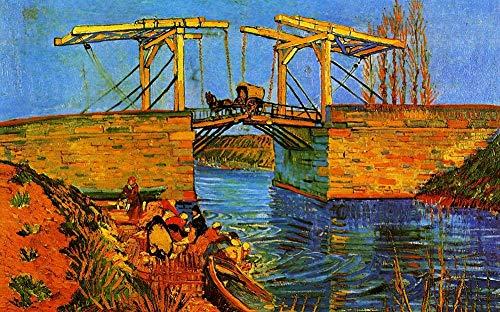 DOUBLETOP Langlois Brücke Beim Arles mit Frauen -Vincent Van Gogh 1000 Stücke Karton Puzzle Puzzle für Erwachsene Zuhause Wand Kunst Dekoration Rätsel Rahmen Weihnachten Geschenke Box