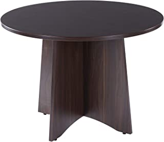 Sunon 41.3 inch Dia Round Conference Table with X-Shaped Wood Panel Small Dining Table (Dark Walnut)
