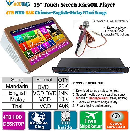 Great Features Of 4TB HDD,88K Touch Screen Karaoke Machine, English+Chinese+Thai+Malay/Indonesia Son...