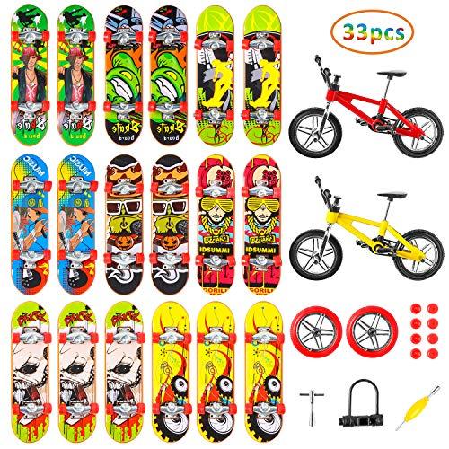 WATINC 33 Stück Mini Finger Skateboards Kinder Spielzeuge Professionelle Deck Truck Fingerboards BMX Finger Fahrrad Fingerspitze Sportspielzeug Räder Zubehör für Jungen Geburtstagsgeschenk Dekoration