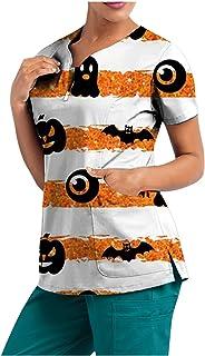 YOYHX Womens Tops Working Uniform T-Shirt Halloween Printed Nursing Shirts Short Sleeve V-Neck Blouse Tops with Pockets