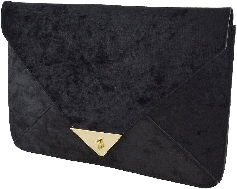 Essex Glam Women's Velvet Evening Envelope Clutch Bag Handbag
