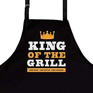 StarGifts BBQ Funny Aprons for Men | King of The Grill | One Size Fits All | Premium Quality Kitchen Apron for Men | Ideal BBQ Accessories | Professional Chef Kitchen Grilling Apron