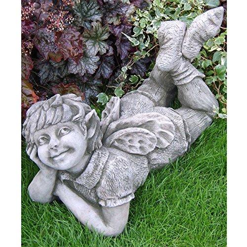 Vidroflor Gartenfigur | Elfe Freya | auf Bauch liegend | H: 34 cm | 27 kg | ausmassivem Steinguss