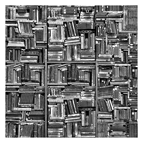 Tapete selbstklebend - Shabby Bücherwand schwarz weiß Quadrat 240 x 240 cm