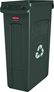 Rubbermaid Commercial Products Slim Jim Plastic Rectangular Recycling/Compost Bin with Venting Channels, 23 Gallon, Green Recycling (FG354007GRN)