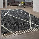 Paco Home Alfombra desgreñada Sala de Estar Alta Pila de Diamantes patrón skandi diseño Vers. Colores y tamaños, tamaño:160x220 cm, Color:Antracita