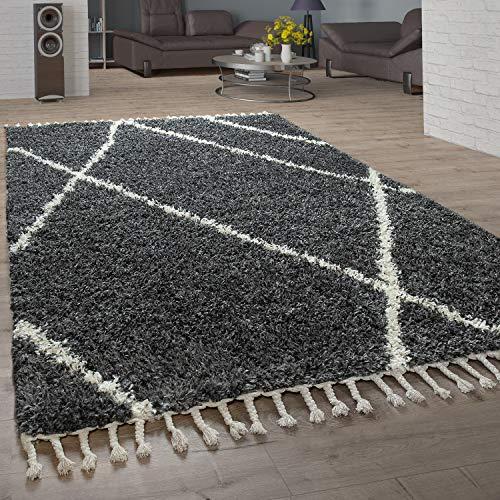 Paco Home Shaggy Teppich Wohnzimmer Hochflor Rauten Muster Skandi Design vers. Farben u. Größen, Grösse:120x170 cm, Farbe:Anthrazit