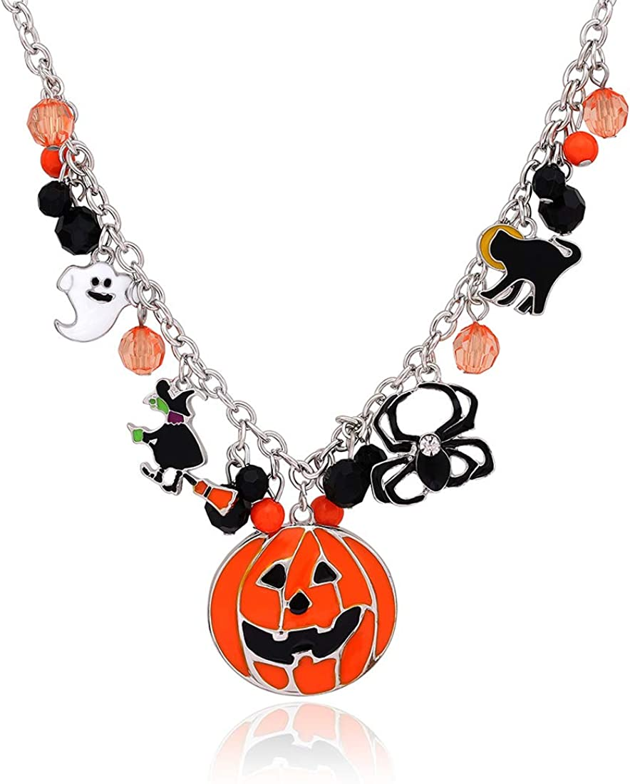 XOCARTIGE Halloween Cash special price Pumpkin Pendant Necklace Charms Cat Ne Witch Purchase