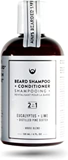 2-in-1 Beard Shampoo and Conditioner: Eucalyptus + Lime with Distilled Pine Scotch - 4 oz. Rich Foaming Action. All-Natural CertClean Certified Formulation Free of SLS, SLES, DEA, Parbens.