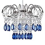 Moderner und verchromter Lampenschirm mit 2 Schichten von transparenten und blauen Tröpfchen aus Acryl im Wasserfallstil – für Hänge- und Pendelleuchte