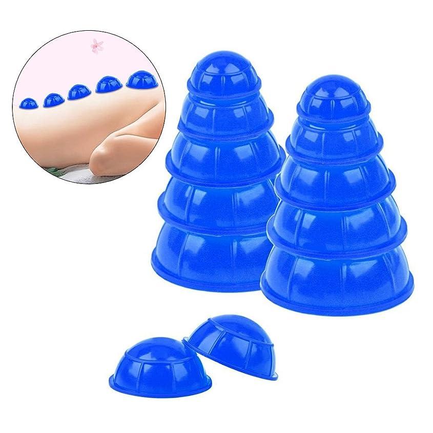 倒産謎迫害ROSENICE カッピングカップシリコンメディカルバキュームカッピングマッサージツールボディフェイシャルセラピーセット12pcs(ブルー)