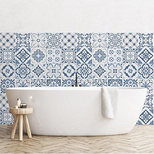 24 (Piezas) Adhesivo para Azulejos 20x20 cm - PS00104 - Lagos - Adhesivo Decorativo para Azulejos para baño y Cocina - Stickers Azulejos - Collage de Azulejos