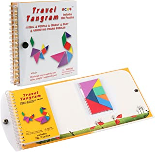 Coogam Magnetic Travel Tangram Puzzles Book Game Tangrams Jigsaw Shapes Dissection with Solution for Kid Adult Traveler Ch...