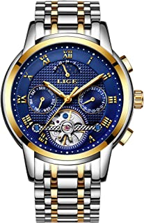 Watch for Men,LIGE Stainless Steel Waterproof Mechanical Watch Gents Skeleton Tourbillon Wrist Watch
