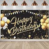 Geburtstag Banner,GRESATEK Schwarz Gold Geburtstag Party