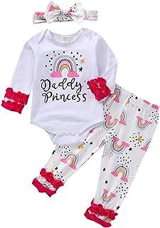 طفل الرضع طفلة إلكتروني قوس قزح طباعة رومبير قمم+ السراويل+ hairband 3PCS 3PCS ملابس (Color : White, Size : 6M)