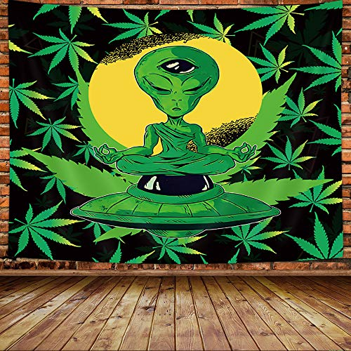 MERCHR Weed Yoga Alien Tapestry for Men, Trippy Marijuana Cool Small Tapestry Wall Hanging for Bedroom, Psychedelic Hippie Alien Tapestries Poster College Dorm Home Decor 60X40Inches