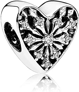 Frosted Heart of Winter Charm - Clear Cubic Zirconia 791996CZ