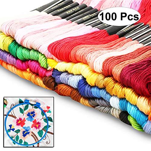 Curtzy 100 Stück von 8m Baumwoll-Garn Faden Zum Nähen Sticken Sortiertes Farben Set - Ideal für Kreuzstich, Stricken, Sicken, Künste und Handwerke - Große Auswahl an Verschiedenen Strängen