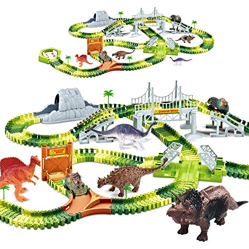 KITOART Dinosaur Toys-258 Pcs Create A Dinosaur World Road Race, Dinosaur Race Track-Flexible Assembly of Various Track Devices & 2 Cool Dinosaur Car, Best Gift for Kids-3 4 5 6 Year Old Boys Girls