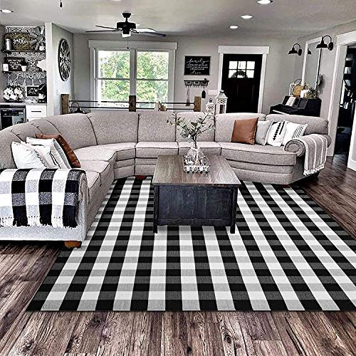 EARTHALL Cotton Buffalo Black and White Plaid Rugs 8'x10', Hand-Woven Checkered Area Rug, Washable Outdoor Rug Farmhouse/Front Porch/Living Room/Laundry Room/Bedroom (91''x120'')