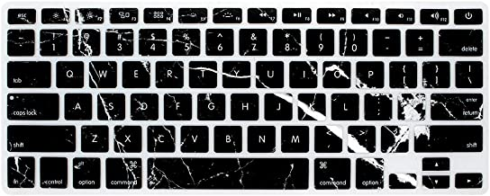HRH Silicone Keyboard Cover Skin for MacBook Air 13,MacBook Pro 13/15/17 (with or w/Out Retina Display, 2015 or Older Version)&Older iMac USA Layout,Black Marble Texture