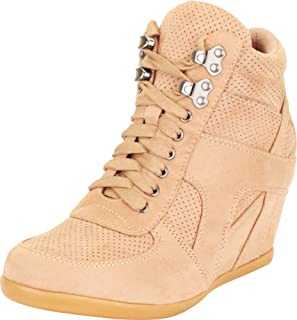 Cambridge Select Women's High Top Perforated Lace-Up Chunky Mid Hidden Wedge Fashion Sneaker