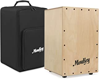 Moukey Full Size Cajon Box Drum, Birchwood Percussion Box Internal Guitar Strings with Backpack Dual Adjustable Straps - DCD-1K