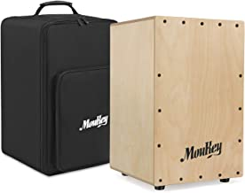 Moukey Full Size Cajon Drum DCD-1 Wooden Drum Box Birchwood Percussion Internal Metal Strings with Bag