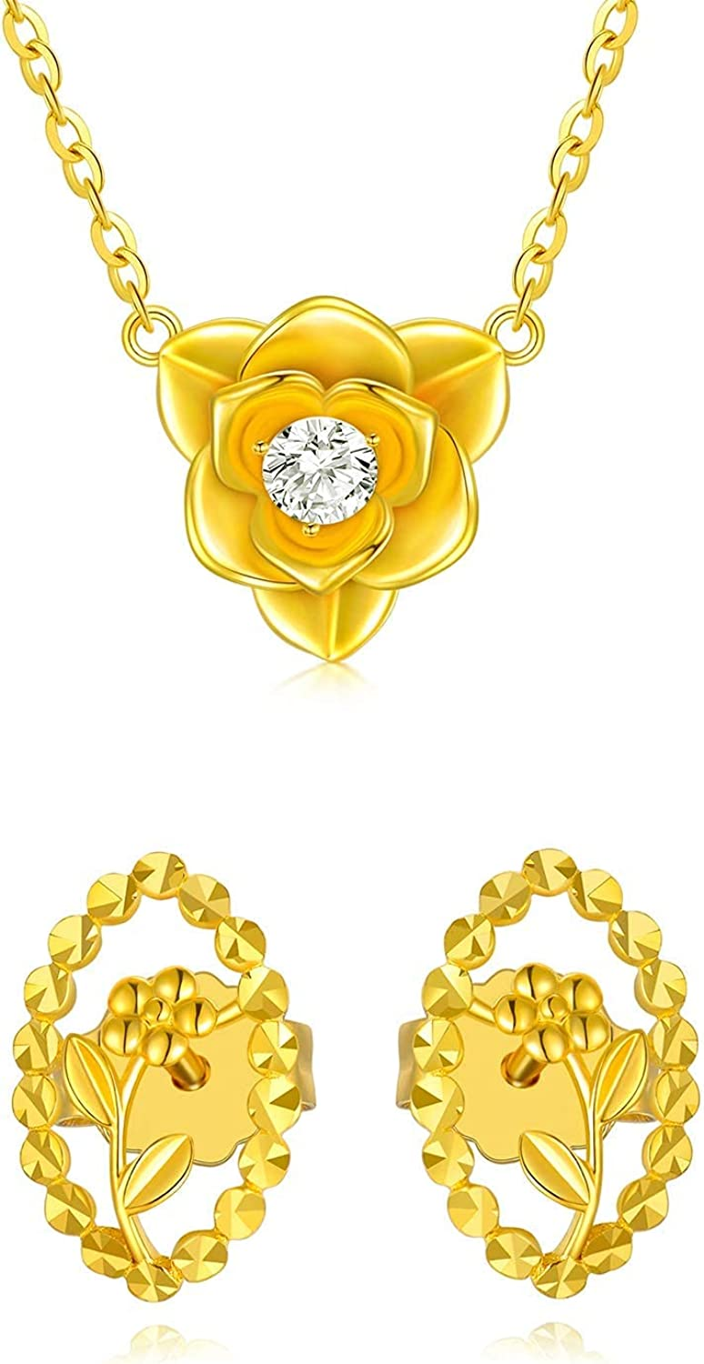 18k Yellow Gold Flower Jewelry Set for Women, Real Gold Necklace and Earrings