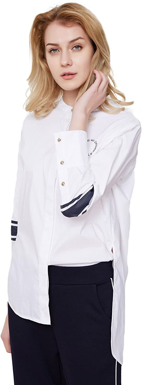 BOSIDENG Women's Button Down Shirt Slim Fit Long Sleeve Blouses