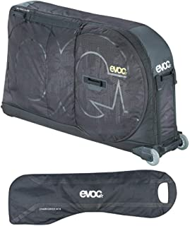 evoc Bicycle Travel Bag Pro (Black) Bundle with MTB Mountain Bike Chain Cover and Bike Stand   Rugged Wheeled Case Protects Your Bike in Transit or Airline Travel