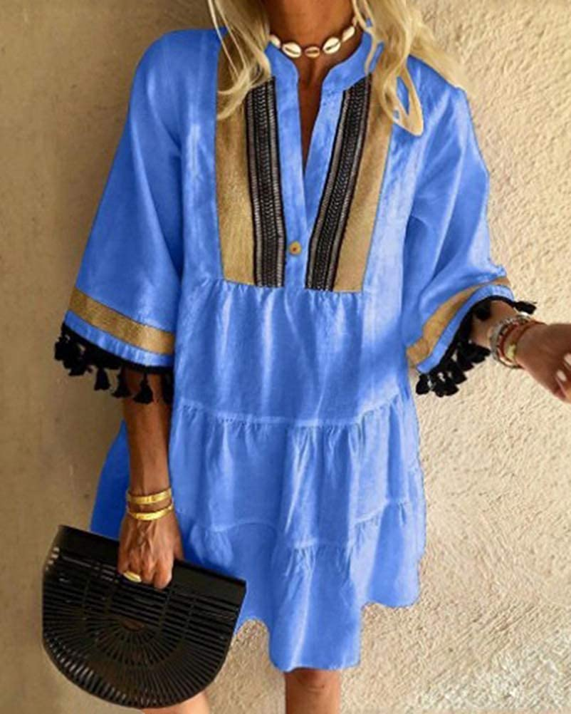 Onsoyours Damen Kleider Strand Elegant Casual A-Linie Kleid Langarm Sommerkleider Boho V-Ausschnitt Quaste Tunika Mini Vintage Kleider Z2 Blau