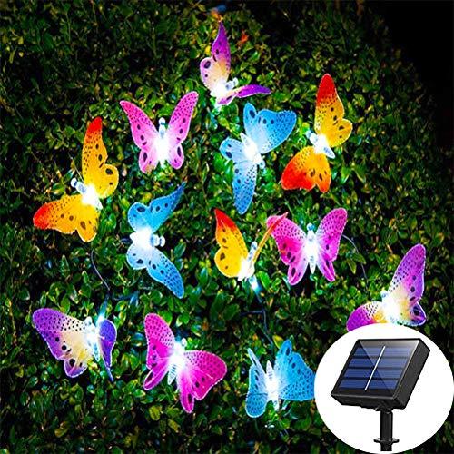 BovoYa Schmetterling Solar Lichterkette Außen Bunt LED Lichterkette mit 12 LED Wasserdichtes für Schlafzimmer Garten-Weihnachten Feiertags-Dekoration [Energieklasse A+]