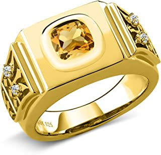 3.04 Ct Yellow Citrine White Topaz 18K Yellow Gold Plated Silver Men's Ring (Available in,9,10,11,12,13) (Available 8,9,10,11,12,13)