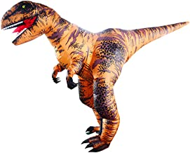 SIREN SUE Inflatable Dinosaur Costume for Halloween Fancy Dress Cosplay Blow Up Full Body Suit Jumpsuit for Adult Brown