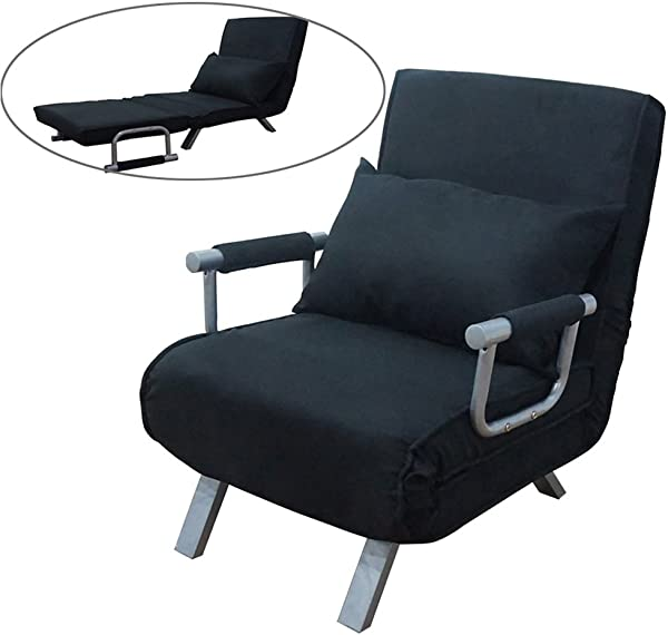 FCH Folding Sofa Bed Convertible Arm Chair Sleeper Recliner Lounge Couch Black